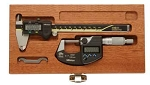 2 Pcs. Mitutoyo Precision Digimatic Tool Kit for Toolmaker-Caliper & Micrometer w/ Mahogany Case